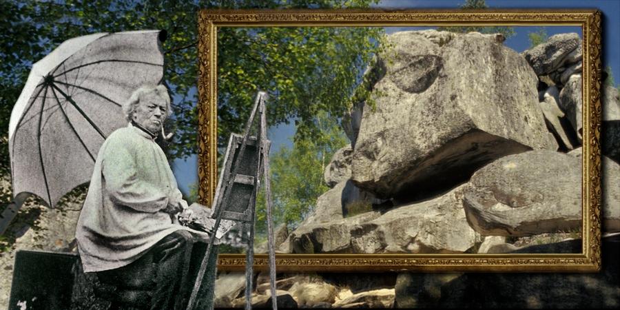 Jean-Baptiste Camille Corot 31 Les Rochers de Fon'ainebleau Huile sur papier marouflé sur toile, 26,5 x 39,1 cm Senlis, musée d'Art et d'Histoire