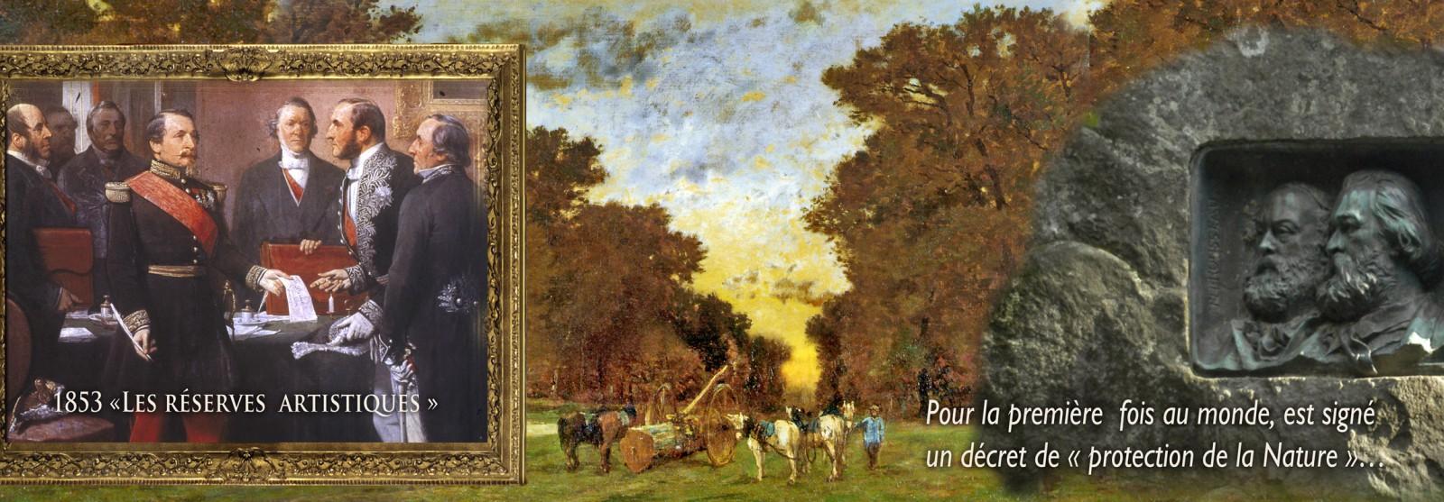 Georges GASSIES (1829-1919)- Coucher de soleil, forêt de Fontainebleau Huile sur toile, dimension? Barbizon. musée de l'Auberge Ganne Musée départemental de l'Ecole de Barbizon