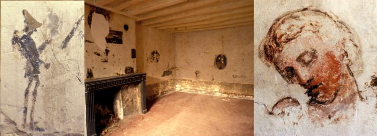 lors de la restauration de l'auberge en 1980, on a découvert sous les papiers peints des chambres, les