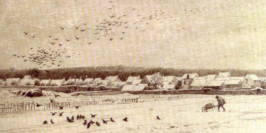 Gravure de Chaigneau - Barbizon sous la neige