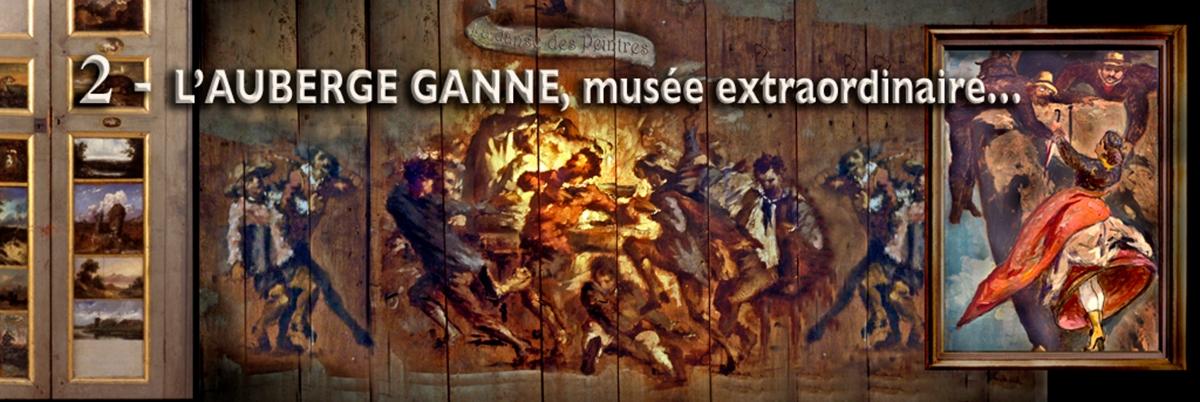 Barbizon-Musée départemental de l'Auberge Ganne Panneau peint : la danse des peintres autour du punch © Atelier Audiovisuel de Barbizon