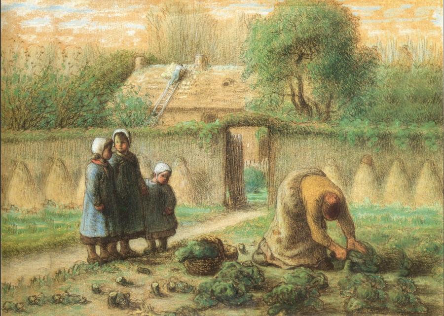 Jean-François Millet Le jardin de Millet à Barbizon Crayon noir rehaussé de pastel 32x37 Musée M.Khalil, Le Caire
