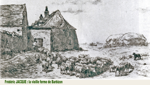 gravure de Frédéric jacque La vieille ferme de Barbizon ferme Bellon-Benoni Collection G.A.Richard