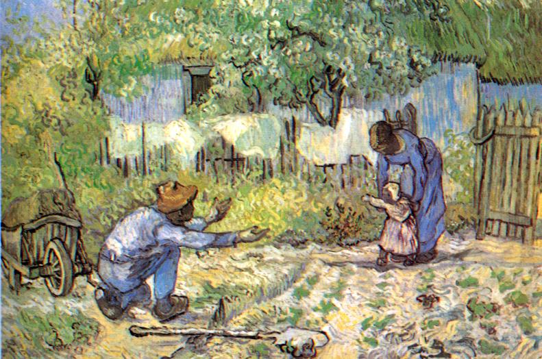 Lorsque Vincent Van Gogh est mort, à Avers-sur-Oise, il avait accroché au mu de sa chambre cette copie d'un émouvant tableau de Millet : les premiers pas…